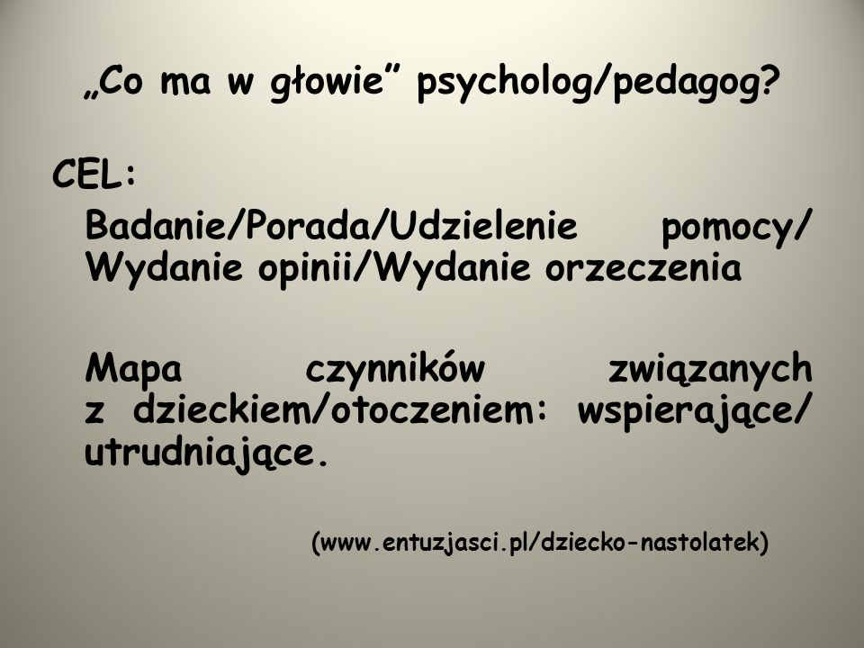 """Co ma w głowie psycholog/pedagog"