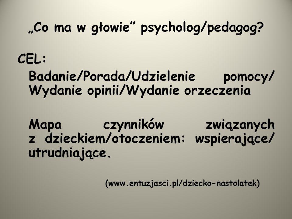 """""""Co ma w głowie psycholog/pedagog"""