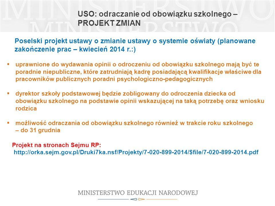 USO: odraczanie od obowiązku szkolnego – projekt zmian