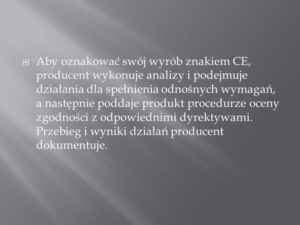 Aby oznakować swój wyrób znakiem CE, producent wykonuje analizy i podejmuje działania dla spełnienia odnośnych wymagań, a następnie poddaje produkt procedurze oceny zgodności z odpowiednimi dyrektywami.