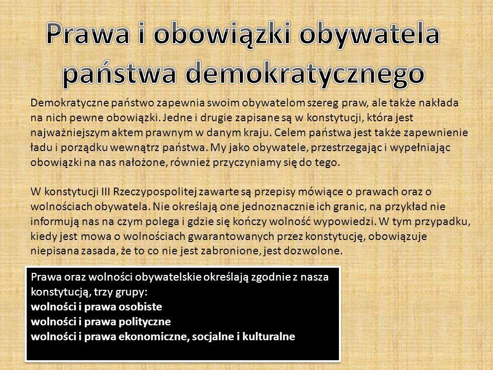 Prawa i obowiązki obywatela państwa demokratycznego