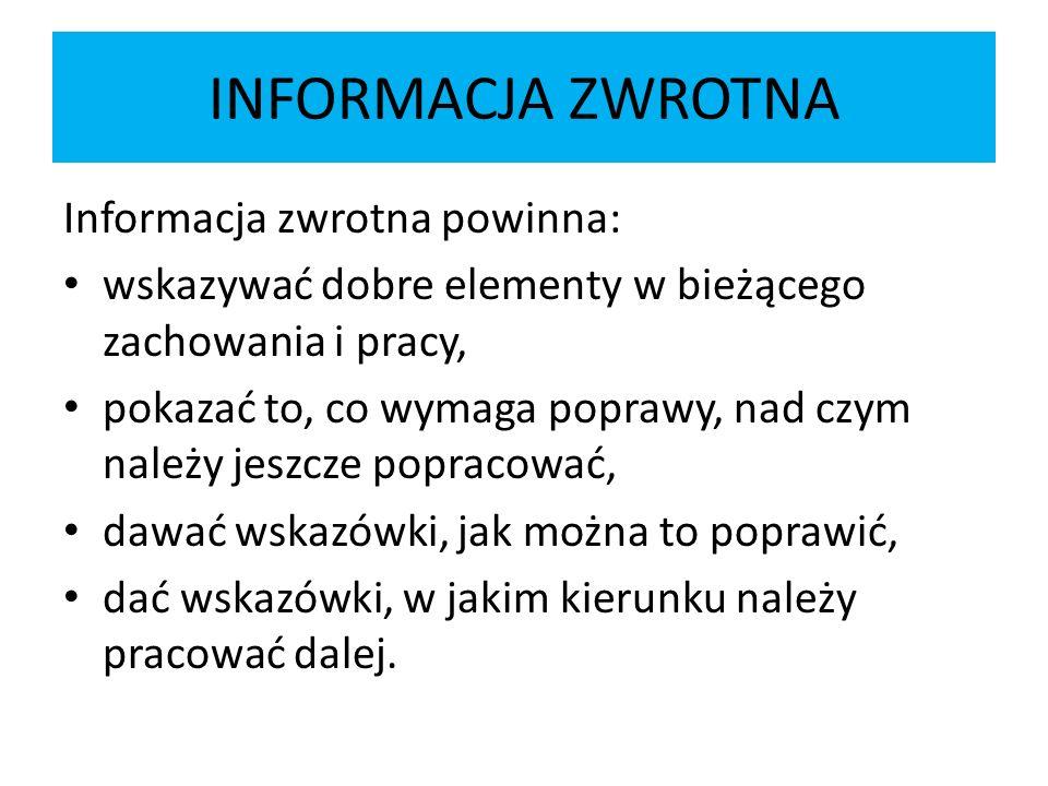INFORMACJA ZWROTNA Informacja zwrotna powinna: