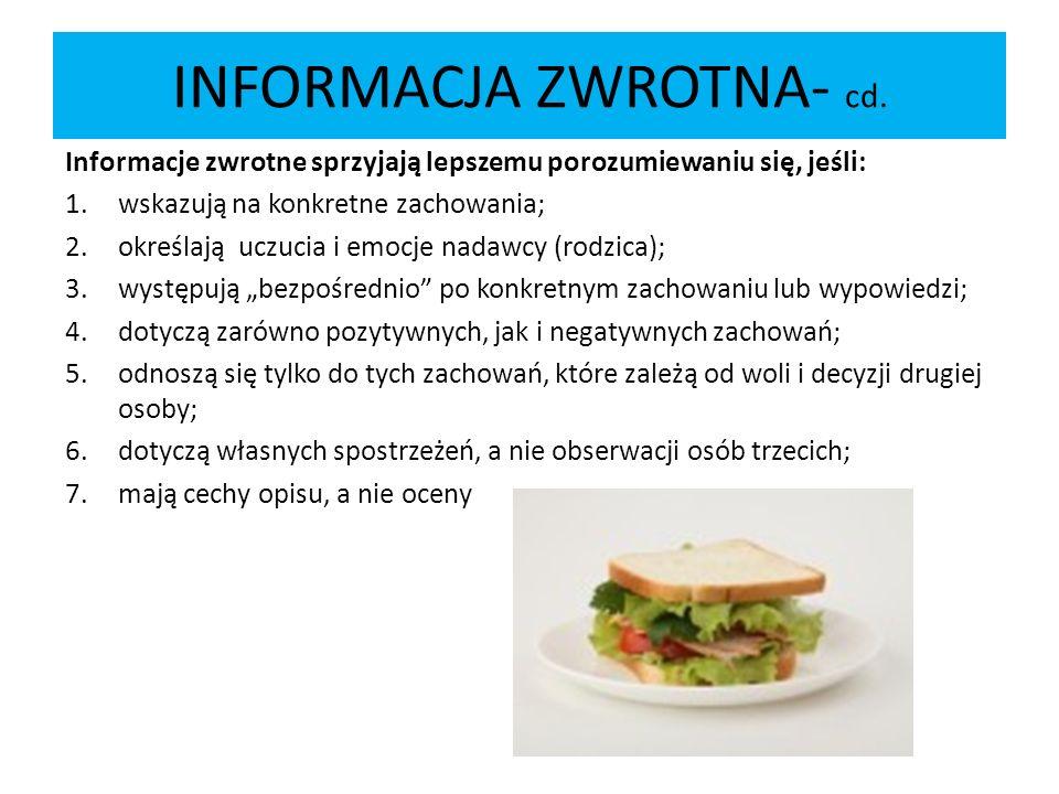 INFORMACJA ZWROTNA- cd.