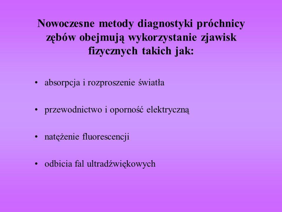 Nowoczesne metody diagnostyki próchnicy zębów obejmują wykorzystanie zjawisk fizycznych takich jak: