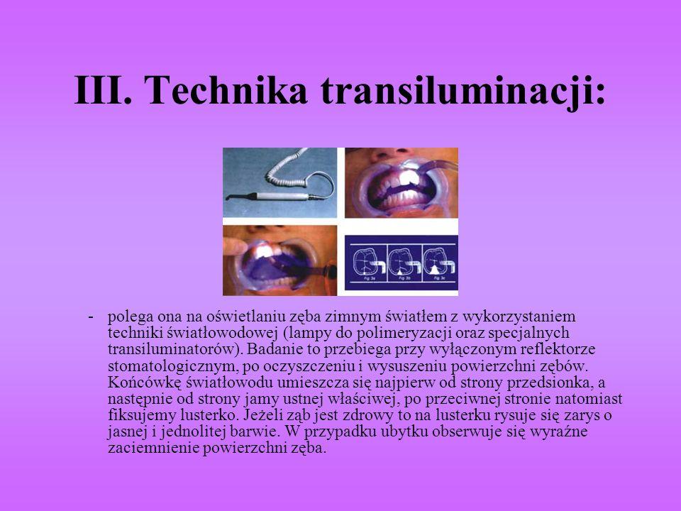 III. Technika transiluminacji:
