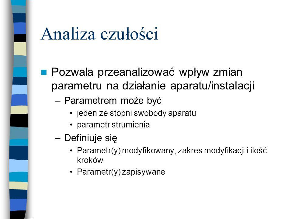 Analiza czułości Pozwala przeanalizować wpływ zmian parametru na działanie aparatu/instalacji. Parametrem może być.