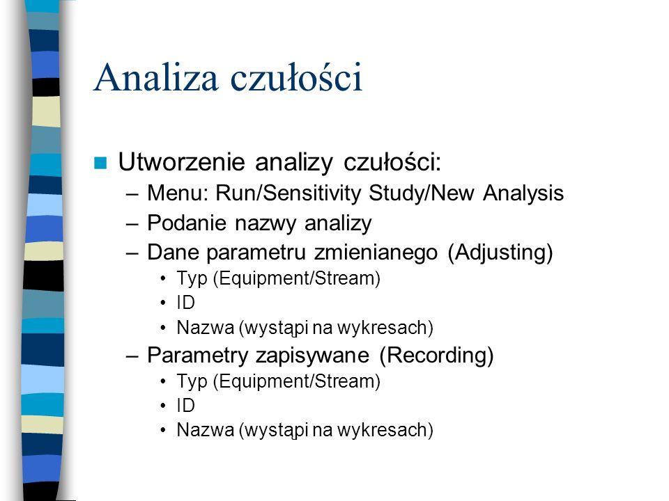 Analiza czułości Utworzenie analizy czułości: