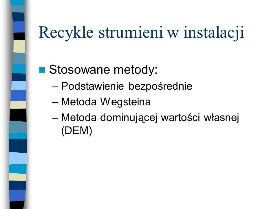 Recykle strumieni w instalacji