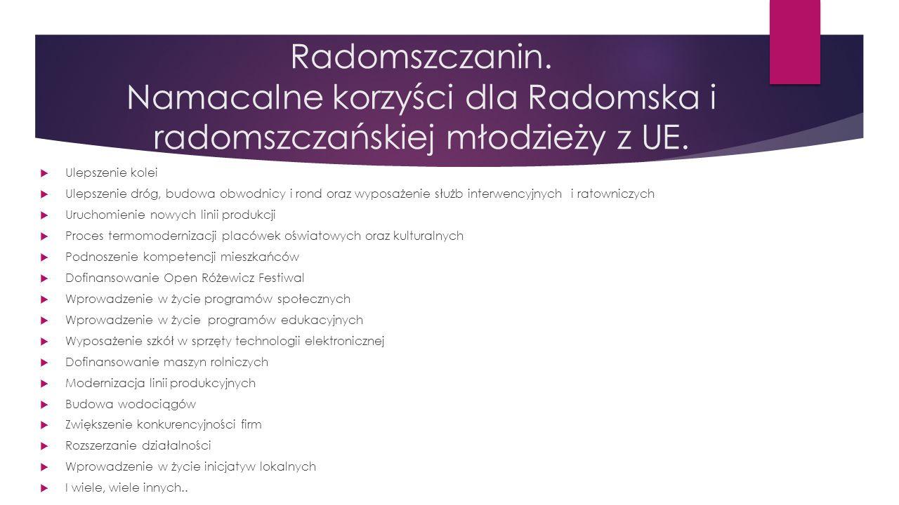 Radomszczanin. Namacalne korzyści dla Radomska i radomszczańskiej młodzieży z UE.