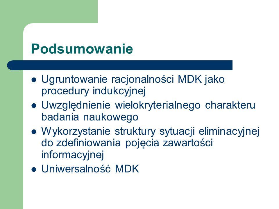 Podsumowanie Ugruntowanie racjonalności MDK jako procedury indukcyjnej
