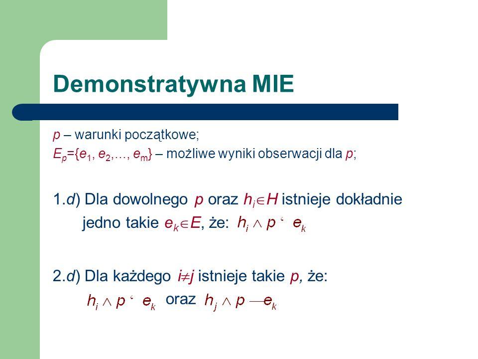 Demonstratywna MIE p – warunki początkowe; Ep={e1, e2,..., em} – możliwe wyniki obserwacji dla p;