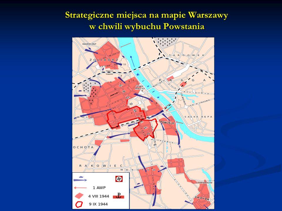 Strategiczne miejsca na mapie Warszawy w chwili wybuchu Powstania