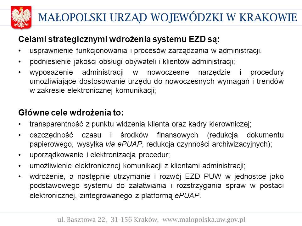 Celami strategicznymi wdrożenia systemu EZD są: