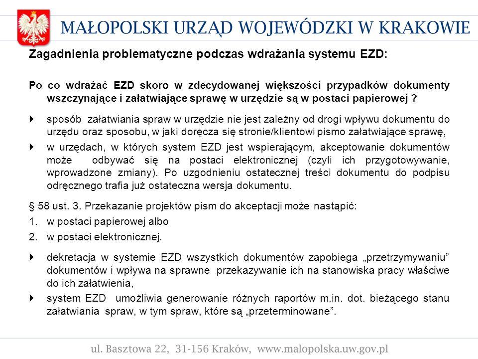Zagadnienia problematyczne podczas wdrażania systemu EZD: