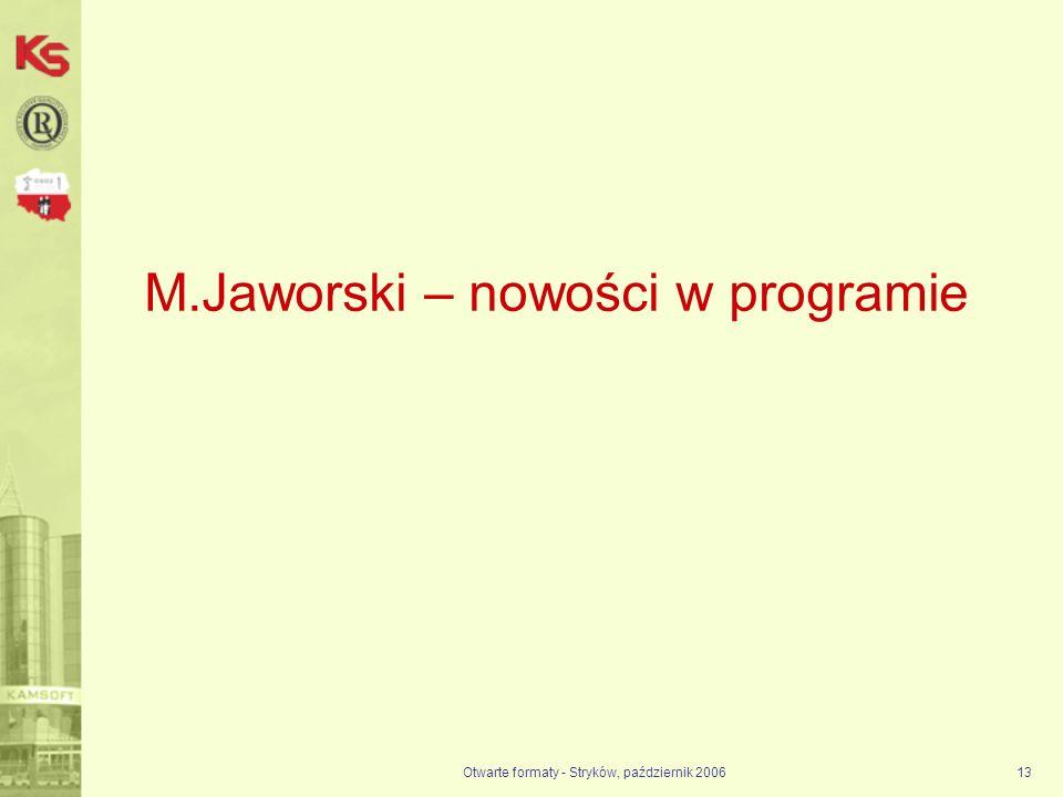 M.Jaworski – nowości w programie
