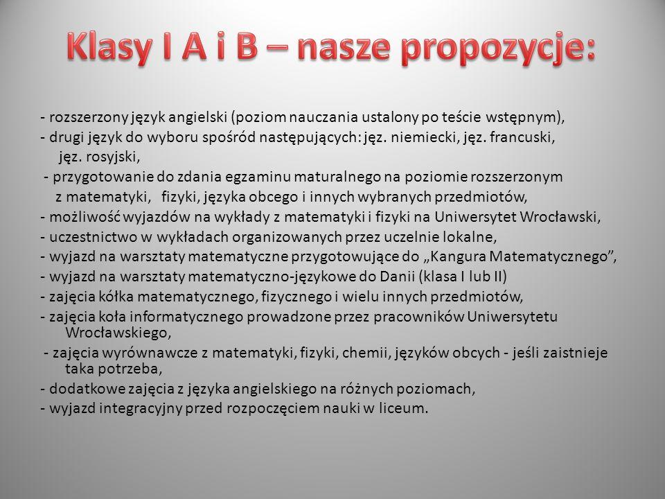 Klasy I A i B – nasze propozycje: