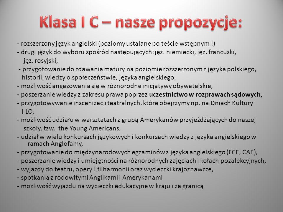 Klasa I C – nasze propozycje:
