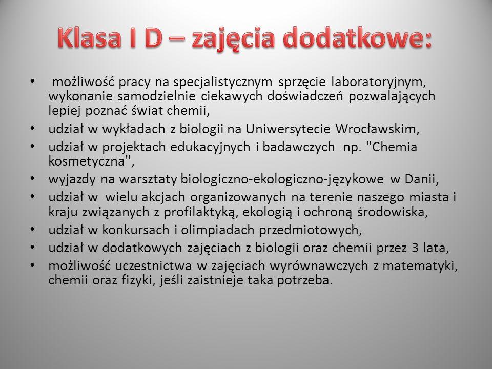 Klasa I D – zajęcia dodatkowe: