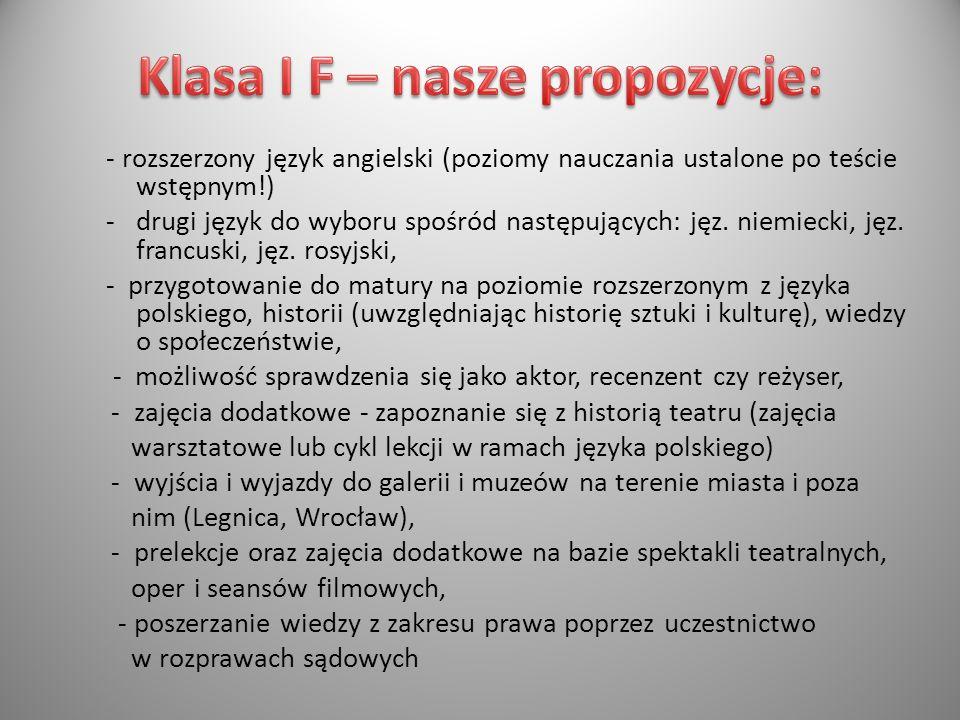 Klasa I F – nasze propozycje: