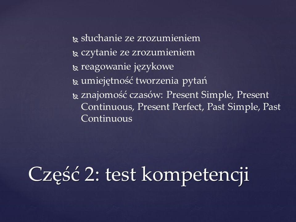 Część 2: test kompetencji