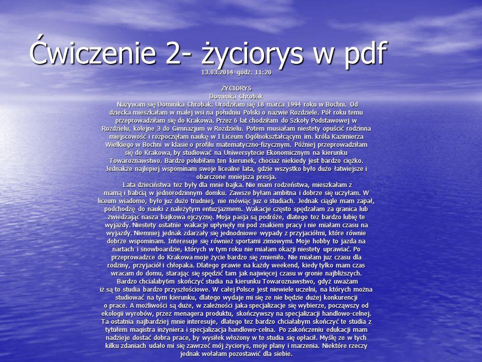 Ćwiczenie 2- życiorys w pdf