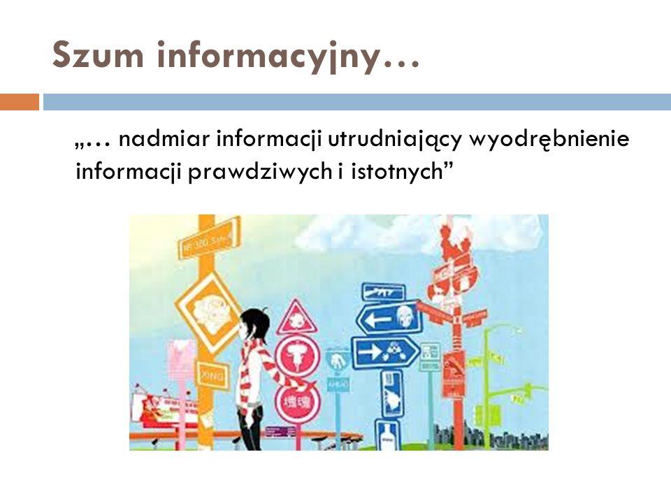 """Szum informacyjny… """"… nadmiar informacji utrudniający wyodrębnienie informacji prawdziwych i istotnych"""