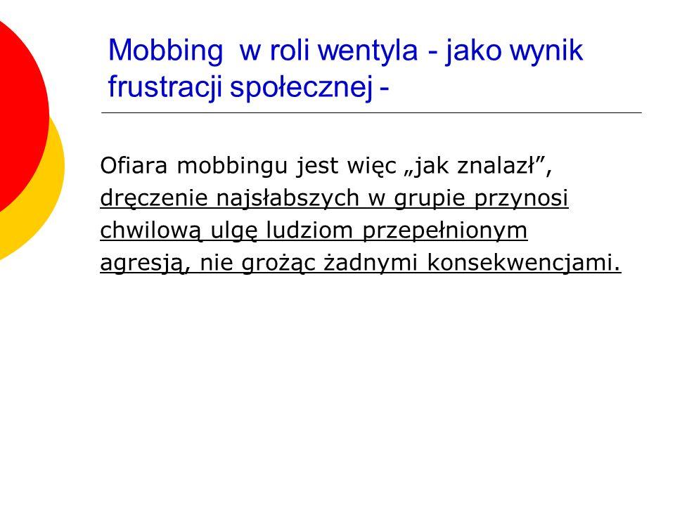 Mobbing w roli wentyla - jako wynik frustracji społecznej -
