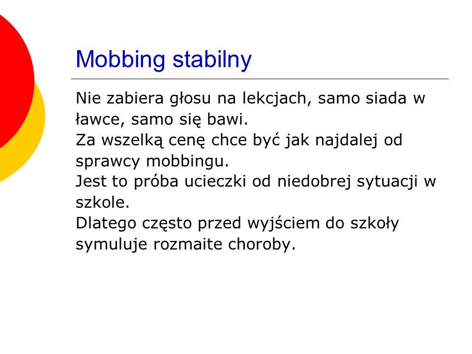 Mobbing stabilny Nie zabiera głosu na lekcjach, samo siada w