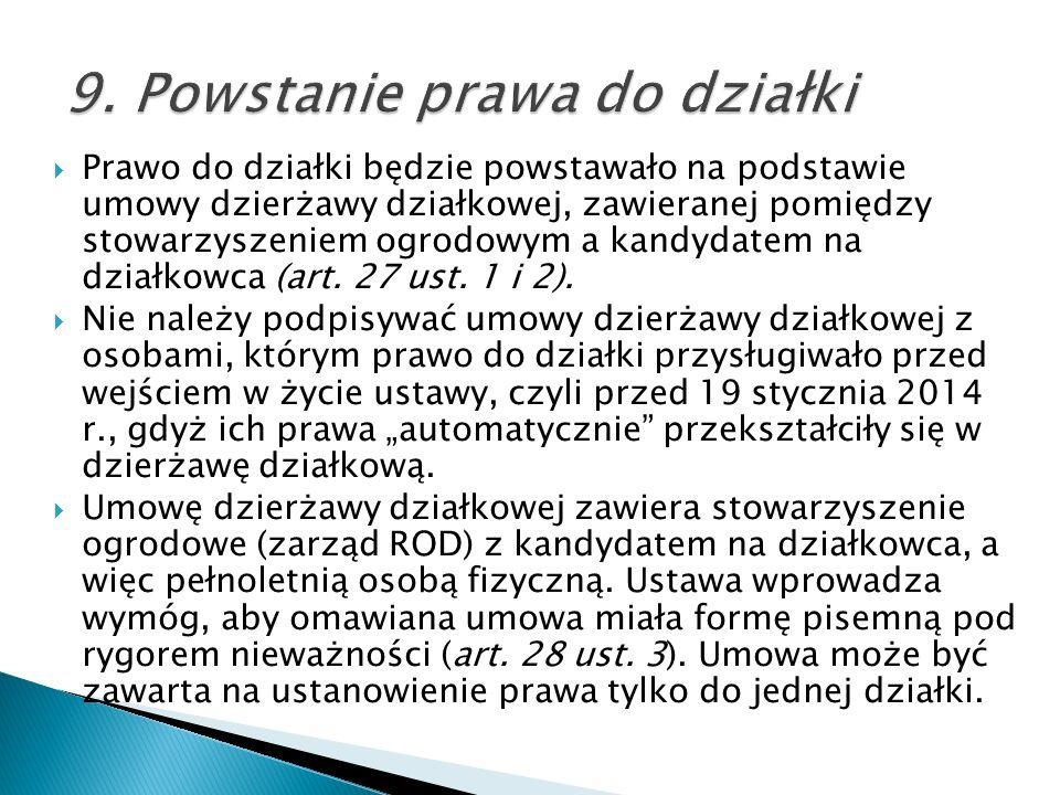 9. Powstanie prawa do działki