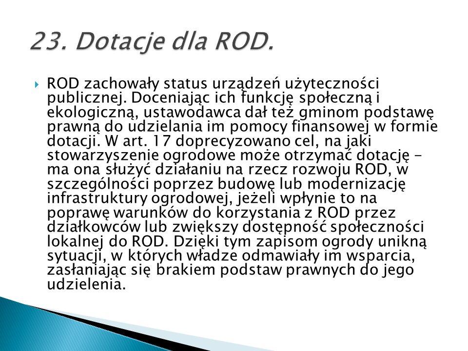 23. Dotacje dla ROD.