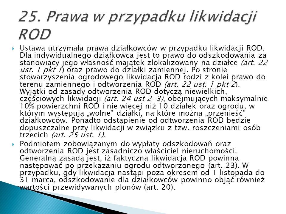 25. Prawa w przypadku likwidacji ROD