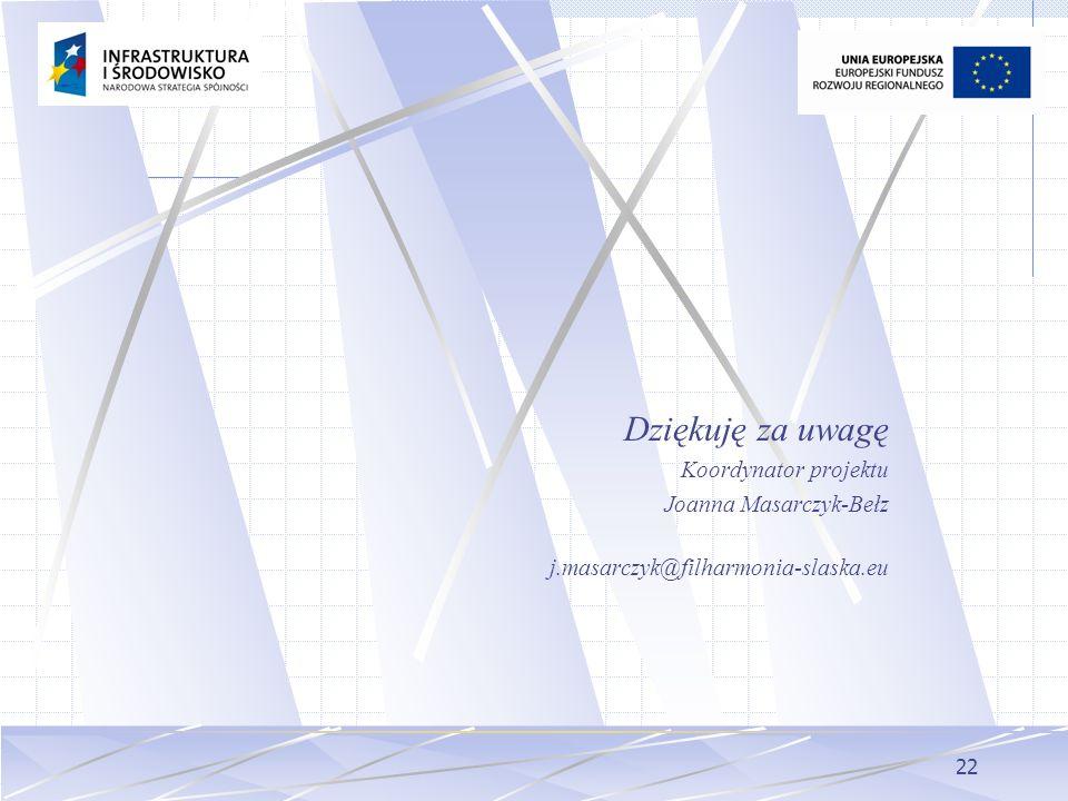 Dziękuję za uwagę Koordynator projektu Joanna Masarczyk-Bełz