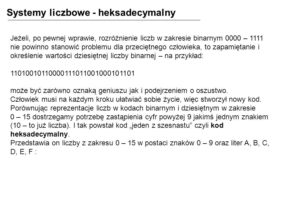 Systemy liczbowe - heksadecymalny