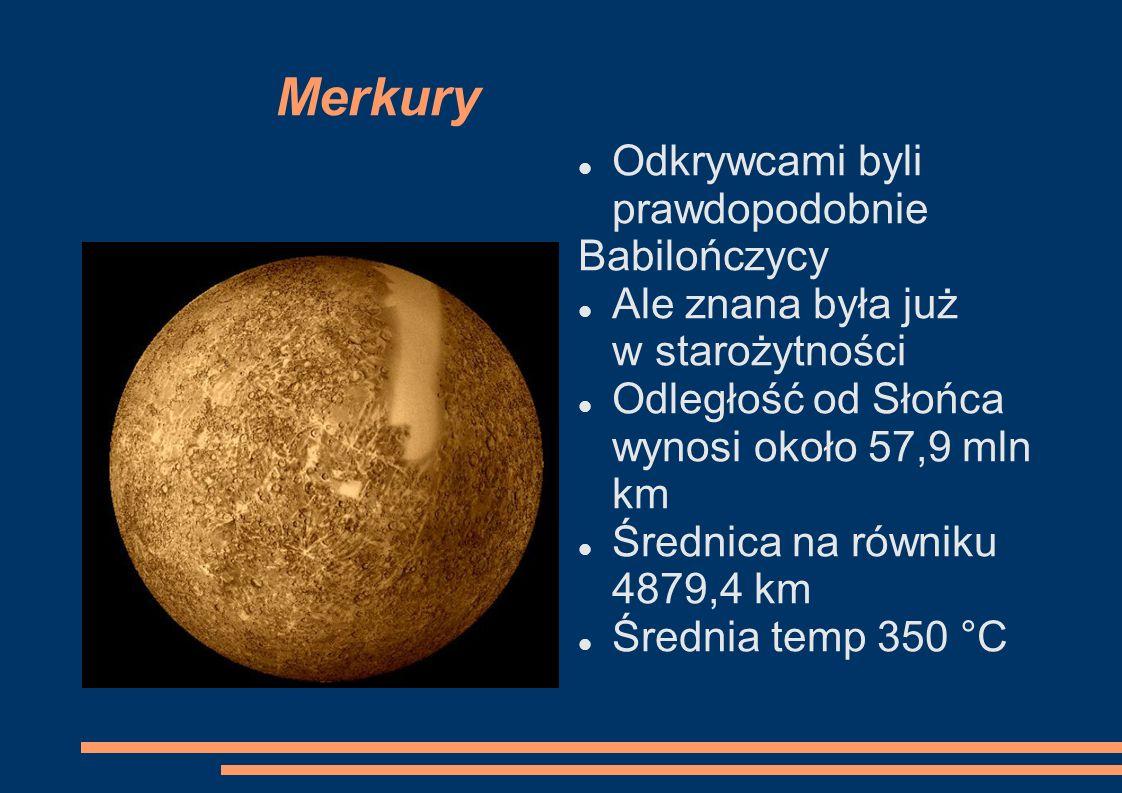 Merkury Odkrywcami byli prawdopodobnie Babilończycy