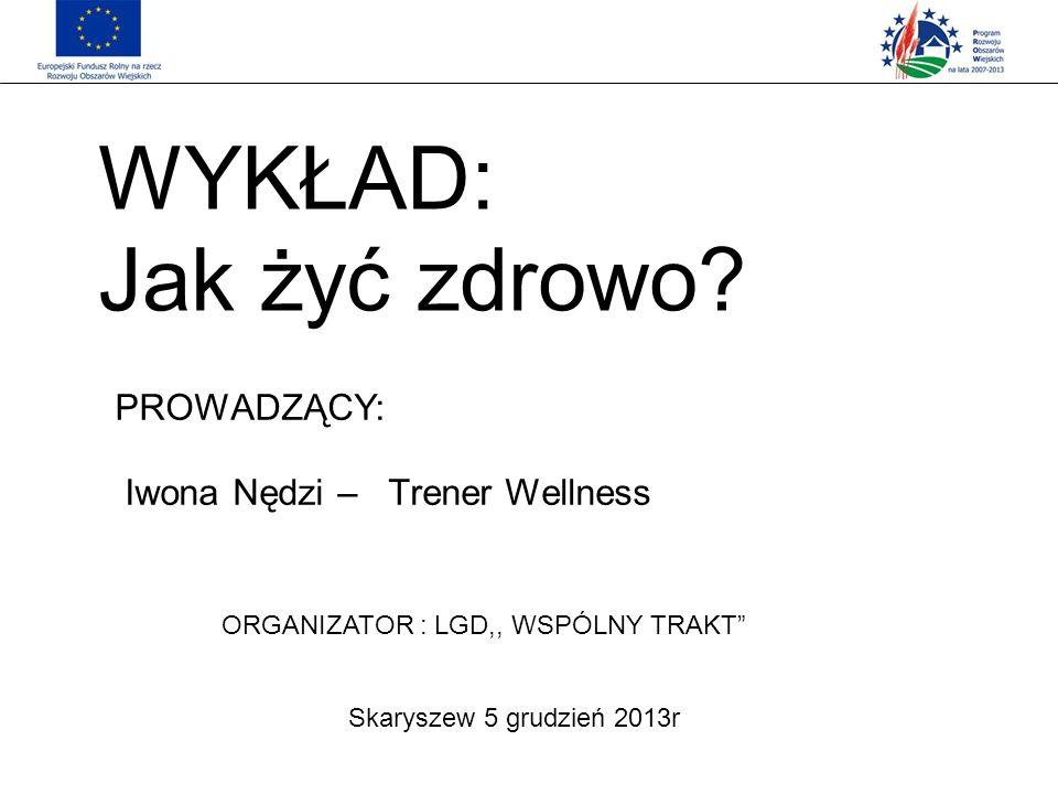 WYKŁAD: Jak żyć zdrowo PROWADZĄCY: Iwona Nędzi – Trener Wellness