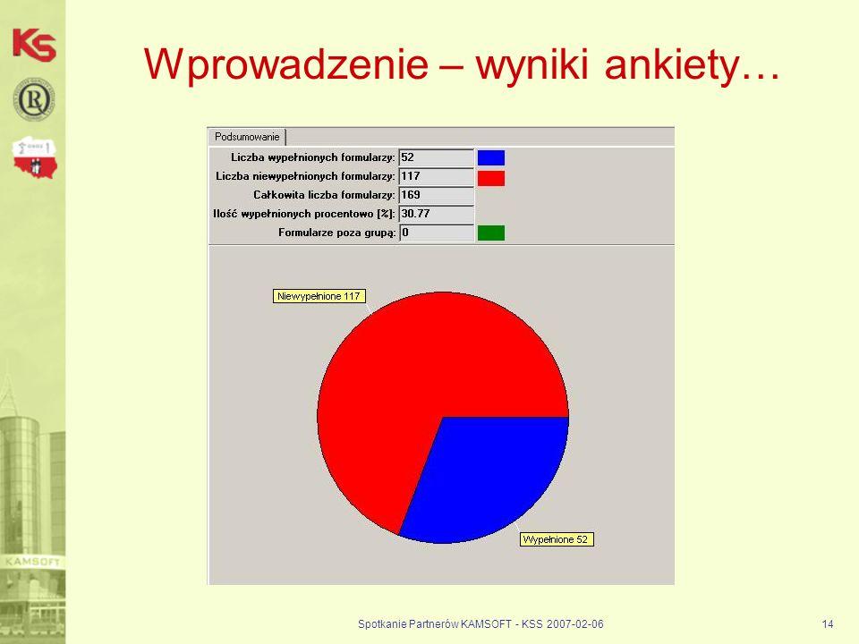Wprowadzenie – wyniki ankiety…