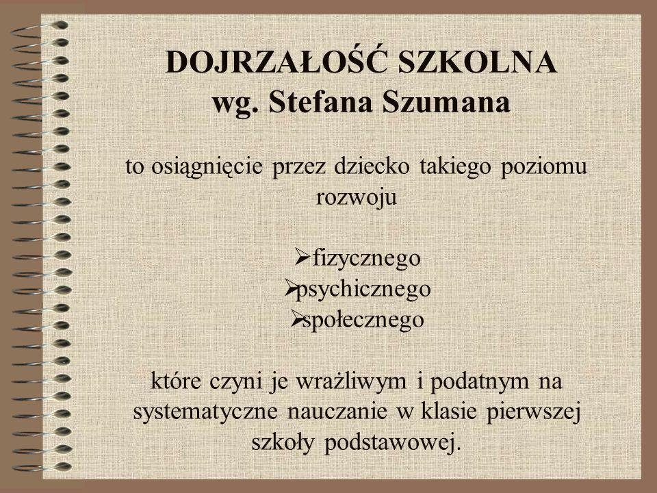 DOJRZAŁOŚĆ SZKOLNA wg. Stefana Szumana