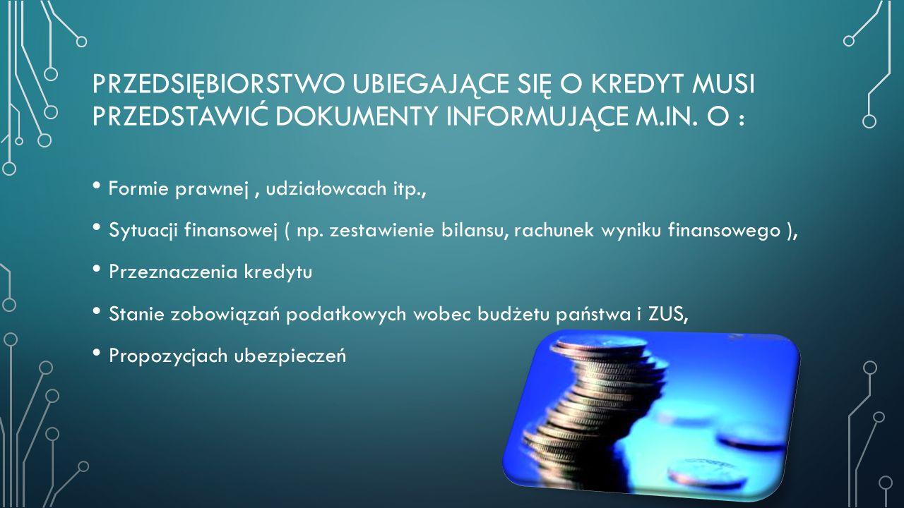 Przedsiębiorstwo ubiegające się o kredyt musi przedstawić dokumenty informujące m.in. O :