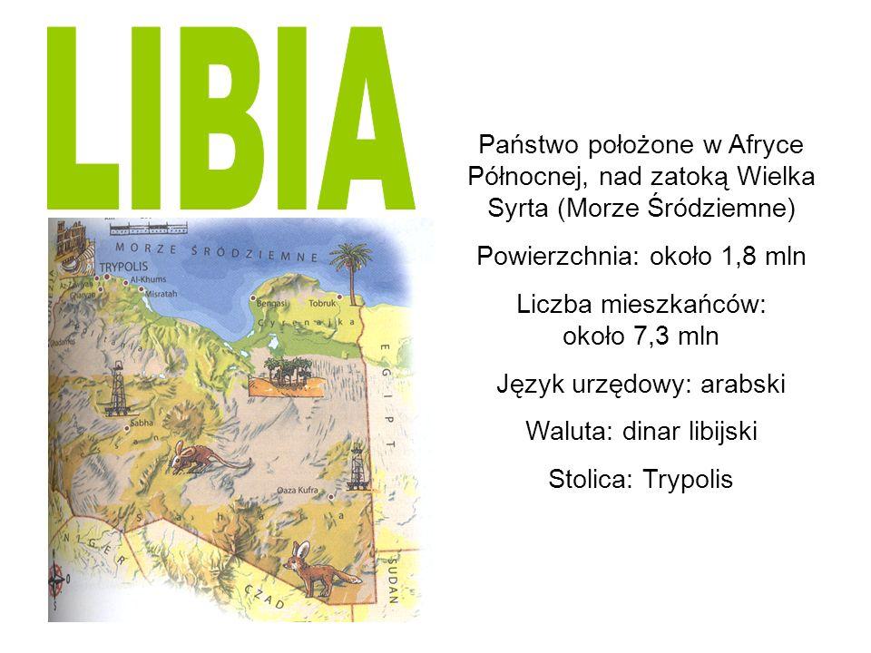 LIBIA Państwo położone w Afryce Północnej, nad zatoką Wielka Syrta (Morze Śródziemne) Powierzchnia: około 1,8 mln.