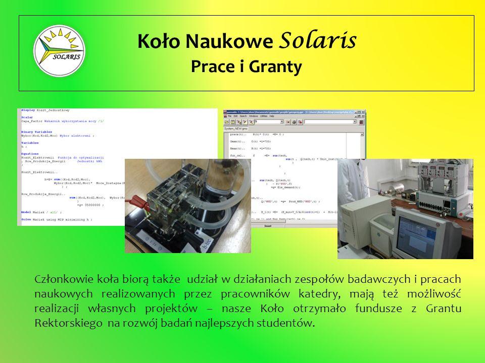 Koło Naukowe Solaris Prace i Granty