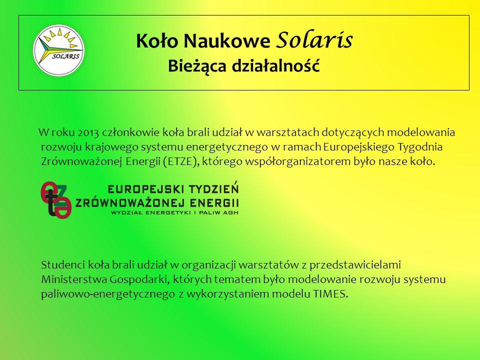 Koło Naukowe Solaris Bieżąca działalność