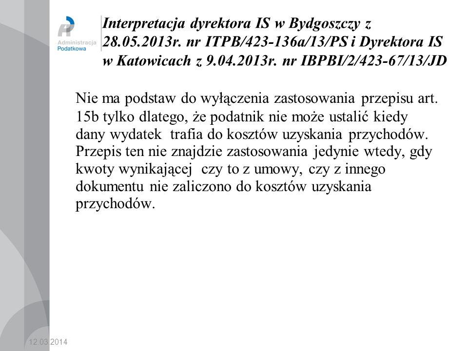 Interpretacja dyrektora IS w Bydgoszczy z 28. 05. 2013r