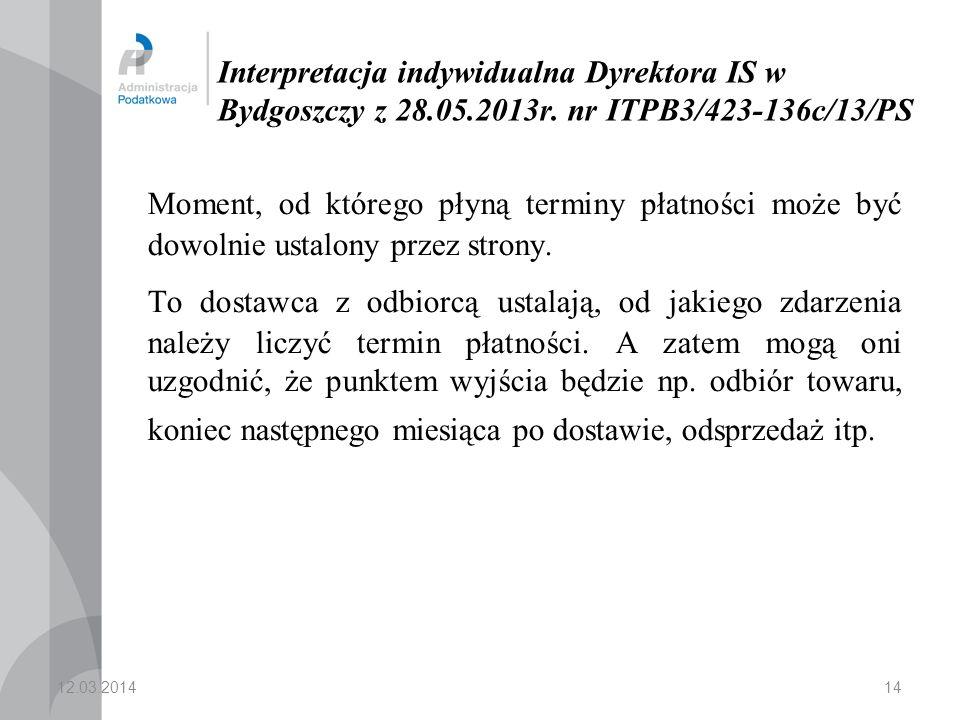 Interpretacja indywidualna Dyrektora IS w Bydgoszczy z 28. 05. 2013r