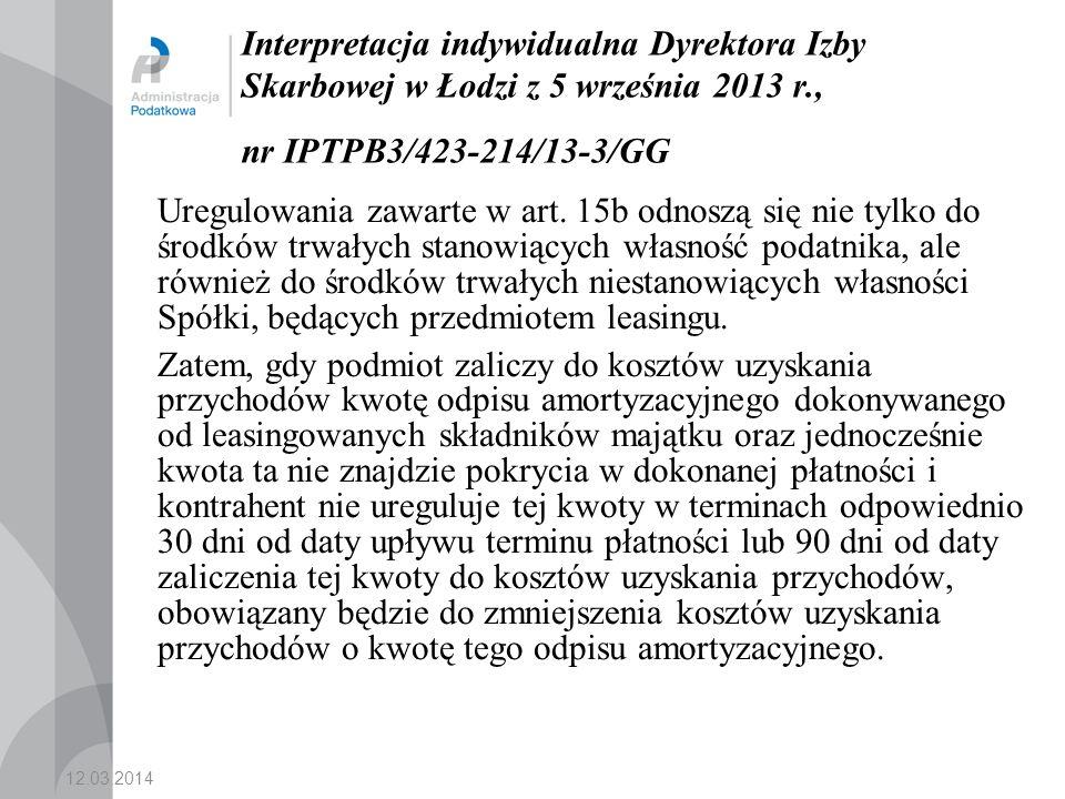 Interpretacja indywidualna Dyrektora Izby Skarbowej w Łodzi z 5 września 2013 r., nr IPTPB3/423-214/13-3/GG