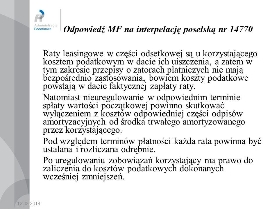 Odpowiedź MF na interpelację poselską nr 14770