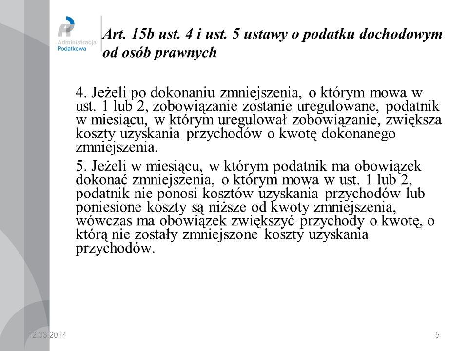 Art. 15b ust. 4 i ust. 5 ustawy o podatku dochodowym od osób prawnych