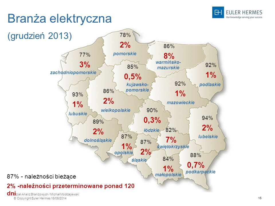 Branża elektryczna (grudzień 2013) 2% 8% 8% 3% 0,5% 1% 0,3% 0,3% 7%