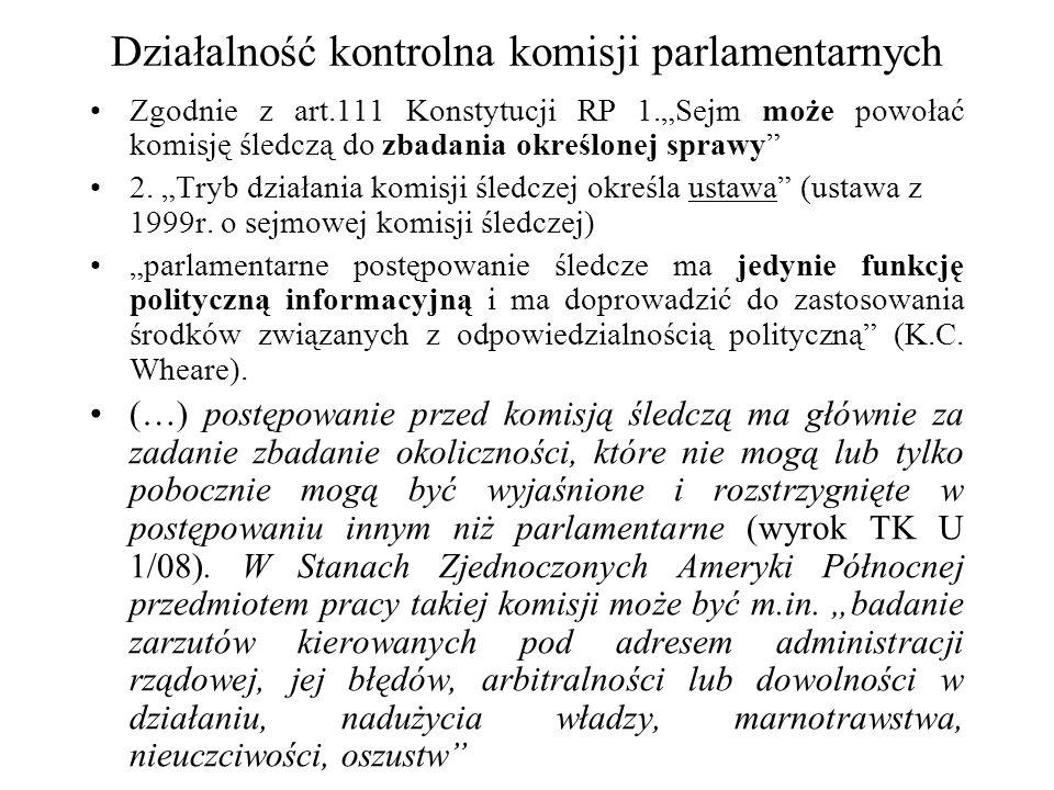 Działalność kontrolna komisji parlamentarnych