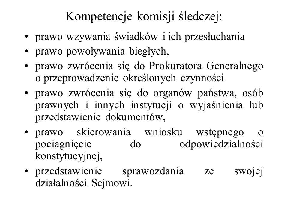 Kompetencje komisji śledczej: