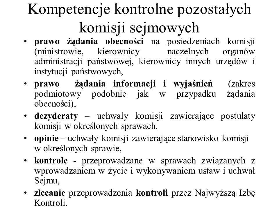 Kompetencje kontrolne pozostałych komisji sejmowych